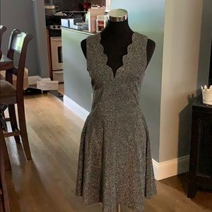 🆕 Aqua Metallic Fit and Flare Dress